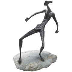 1970s Modern Brutalist Bronze Nude Figurative Sculpture by Young