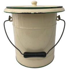 French Enamelware Large Pot and Lid, Cream with Green Trim Knob and Wood Handle