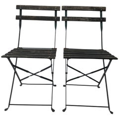 Pair of French Foldable Green Garden Chairs, Wood and Metal, 1950s