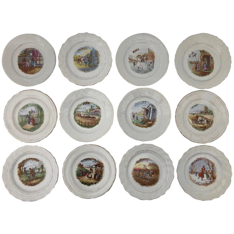 Complete Set of 12 French Countryside Plate of the Month Transferware, 1920s