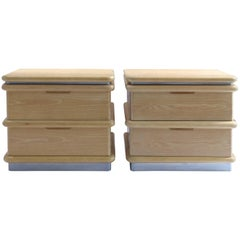 1970s Cerused and Brushed Steel Nightstands by Jay Spectre for Century Furniture