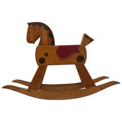 Child's Wooden Rocking Horse with Footrest, Black Wood Mane and Red Saddle