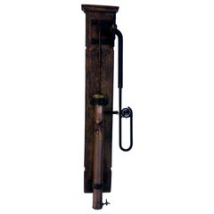 French Copper Water Hand Pump, Black Iron Features, Spout, on Wood, Louis XIV