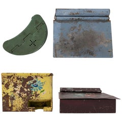 Set of Four Hinged Tin Boxes Blue, Green, Yellow, Brown