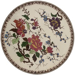 Round Hand Painted Porcelain Imari Platter with Floral Motif