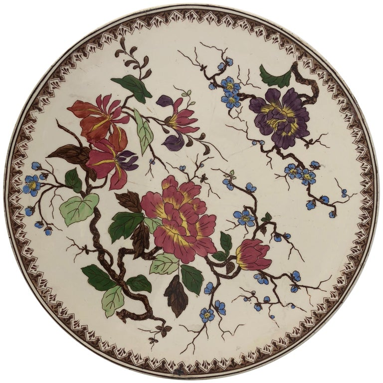 Round Hand Painted Porcelain Imari Platter with Floral Motif For Sale
