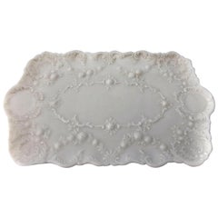 Milk Glass Serving Platter, Rectangular with Raised Floral Decoration