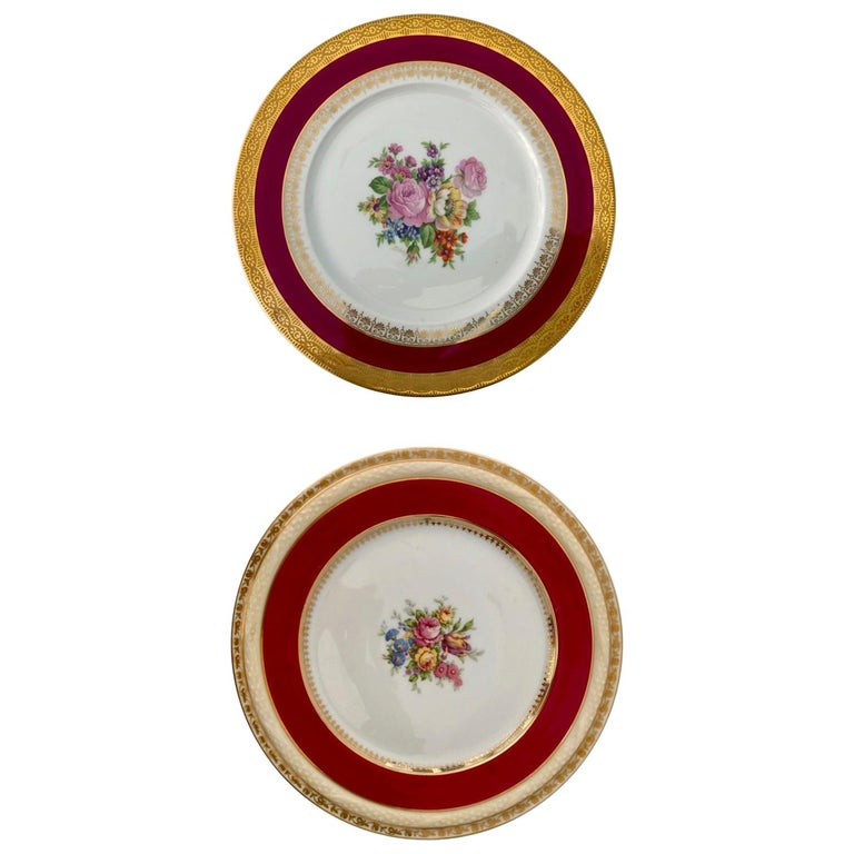 2 French Limoges Serving Plates, Hand-Painted Red, Gold with Decorative Flowers