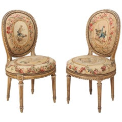 Pair of French Cream Painted Louis XVI Chairs by Georges Jacob, circa 1780