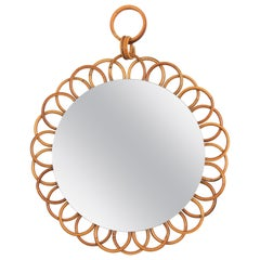Small French Riviera Rattan Flower Shaped Hanging Mirror, France, 1960s