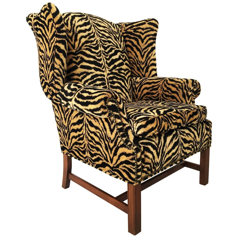 Georgian Style Tiger Print Upholstered Wingback Chair