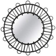 Ebonized Rattan and Wicker Circular Sunburst Mirror, Spain, 1960s