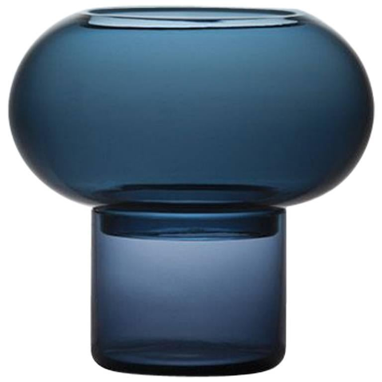 Bolla Murano Glass Candleholder in Blue by Lucidi Pevere for Driade