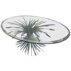 Wheat Sheaf Round Glass Coffee Table