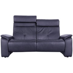 Himolla Leather Sofa Black Two-Seat Couch