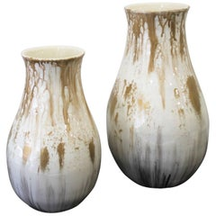 Set of Contemporary Resin and Porcelain Vases in White and Gold