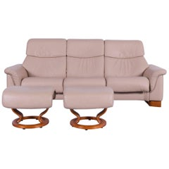 Ekornes Stressless Paradise Sofa Set Beige Leather Three-Seat Recliner
