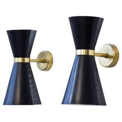 Pair of Metal and Brass Wall Lamps by Falkenbergs Belysning, Sweden, 1950s