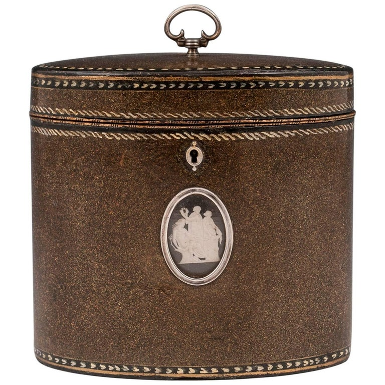 Henry Clay Papier Mache Mother of Pearl Silver Tea Caddy, 18th Century