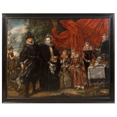Portrait of a Noble Family in the Landscape, circa 1600, Antwerp School
