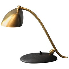 1960s Kaiser Brass Desk Lamp with Black Metal Base