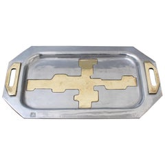 Aluminium and Brass Brutalist Style Tray by David Marshall, circa 1970s