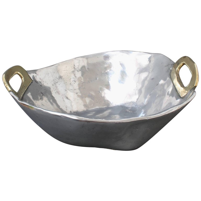 Aluminium and Brass Brutalist Style Bowl by David Marshall, circa 1970s