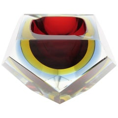 Giant Flavio Poli Red Gold Blue Faceted Sommerso Murano Glass Ashtray, Italy
