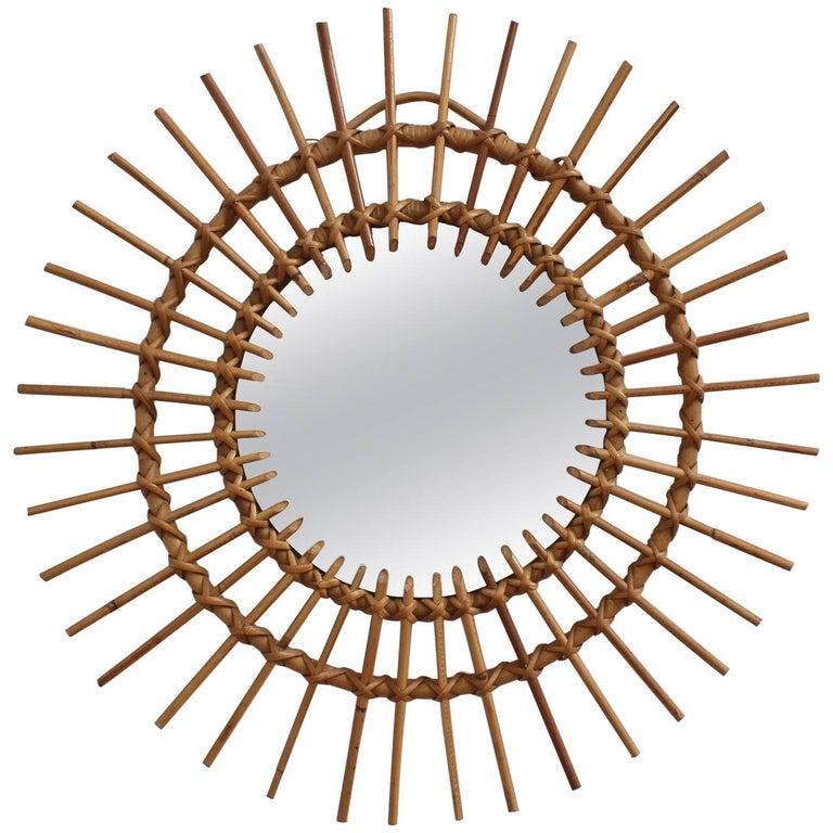 Midcentury French Rattan Sunburst Mirror, circa 1960s
