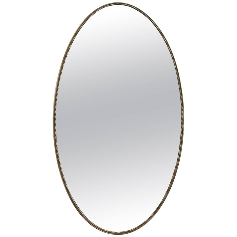 Oblong Italian Wall Mirror with Brass Frame, circa 1950s