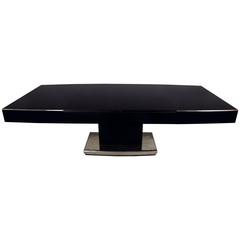 Unique Large Art Deco Extendable Dining Table, Black Glass, Chrome Accessories