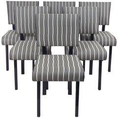 Czech Artdeco Set of Chairs, Six Pieces, Black Polish, New Upholstery Backhausen