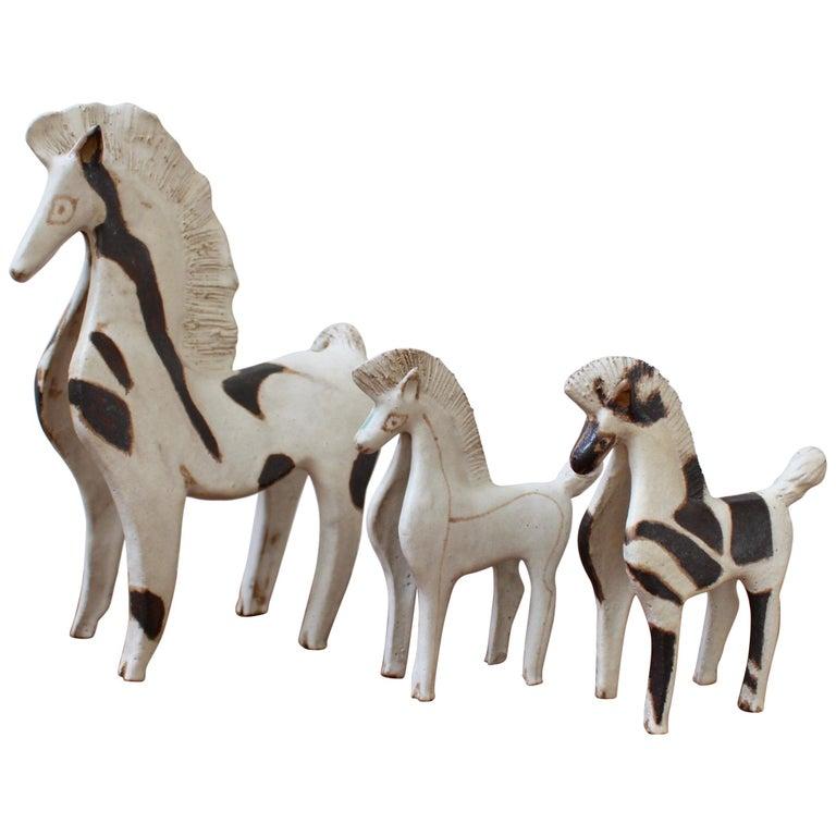 Trio of Ceramic Horse Sculptures by Bruno Gambone, Italy, circa 1970s