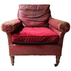 Large Oak & Red Morocco Leather Library Armchair, circa 1850, Fonthill Abbey