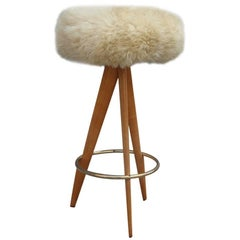 Particular Stool in Sheepskin Wood and Brass Design Italian, 1950