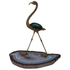 Sculpture of Very Elegant 1970s Italian Heron Silver Vermeil Malachite