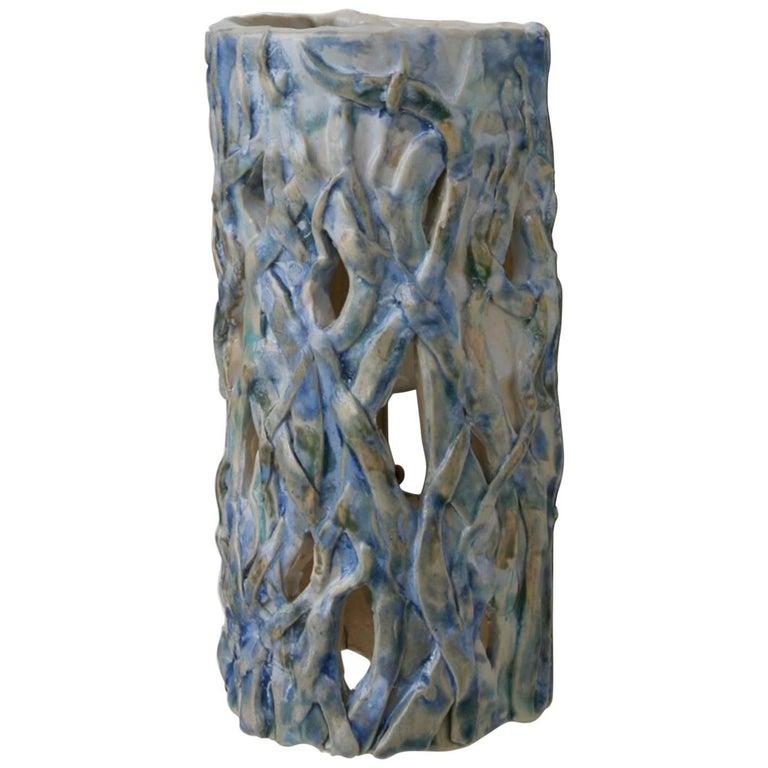 Contemporary Handmade Blue Ceramic Wall Lamp 'Chez Albert 2'