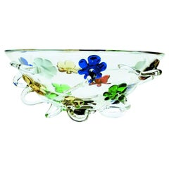 Prounier Glass Centrepiece with Multicolored Flower Detail, Borek Sipek for Dria