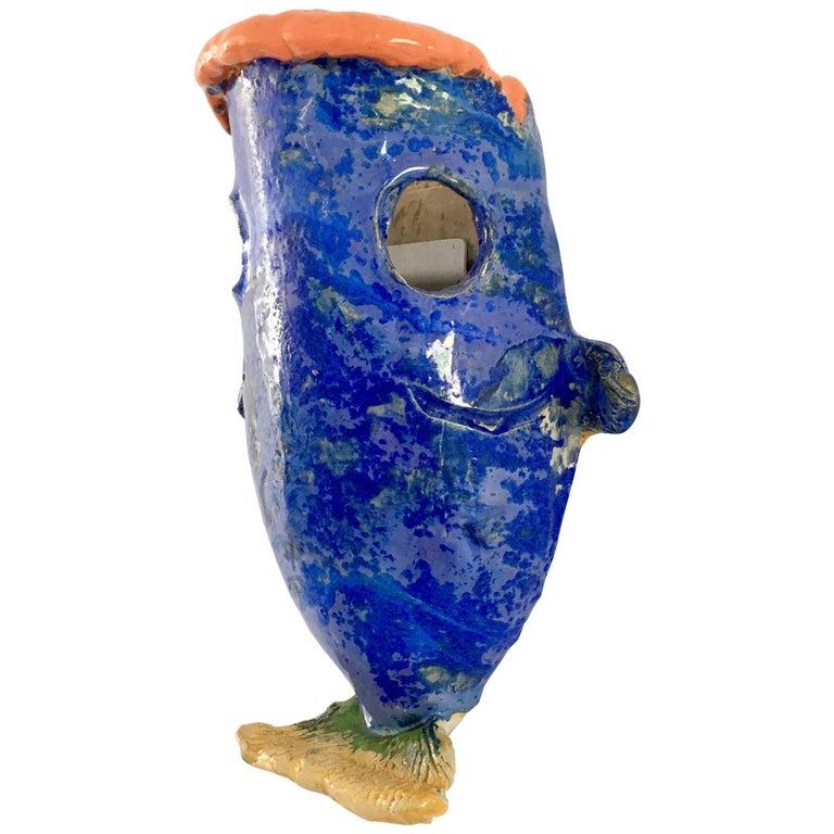 Contemporary Handmade Blue Ceramic Wall Lamp 'Néné'