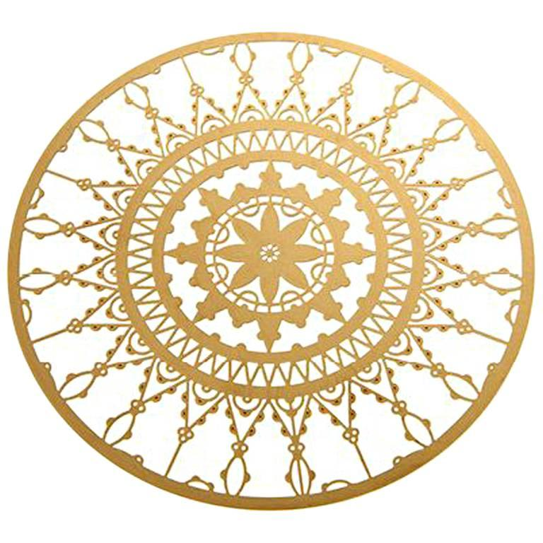 Italic Lace Brass Round Coaster Set of Four by Galante & Lancman for Driade