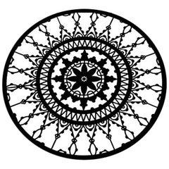 Italic Lace Black Finish Round Coaster Set of Four, Galante & Lancman for Driad