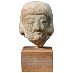 Ancient Greek Cypriot Archaic Head Bust of a Votary, 8th Century BC, Terracotta