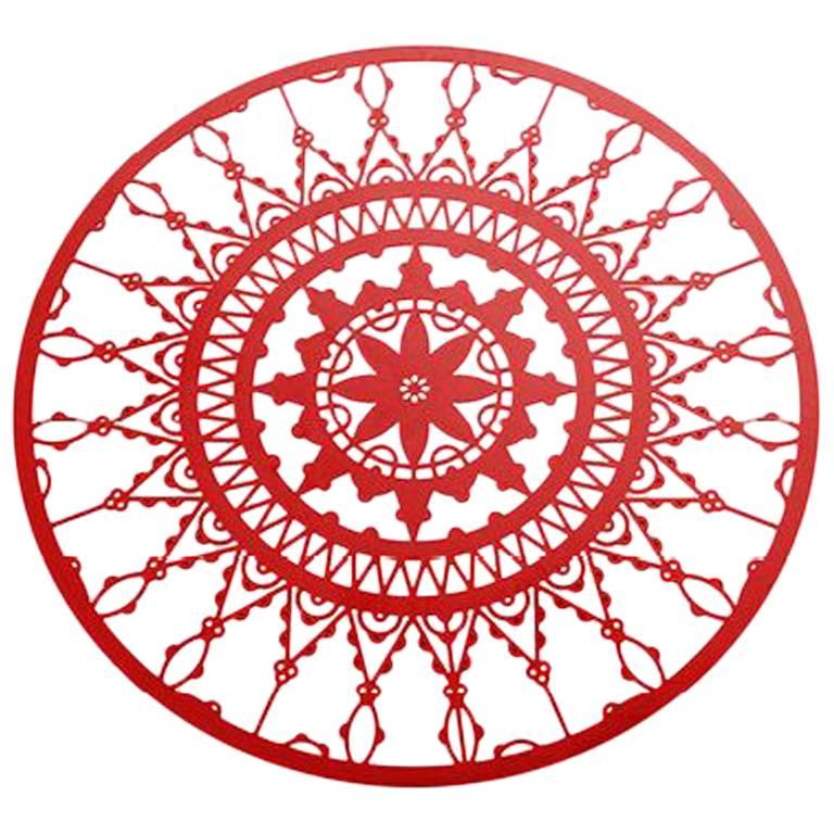 Italic Lace Red Finish Round Coaster Set of Four by Galante & Lancman for Driade