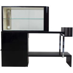 Art Deco Spatial Display Cabinet with Lamp, Black Polish, Chrome Accessories