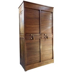 Haberdashery Tambour Fronted Oak Cabinet Four-Section Vintage