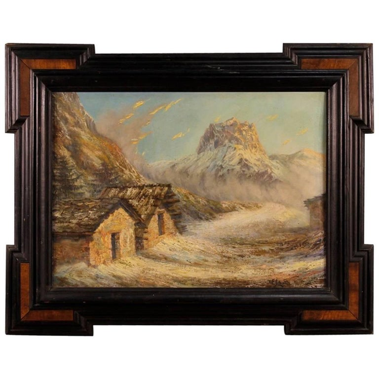 French Mountain Landscape Signed Painting Oil on Canvas from 20th Century