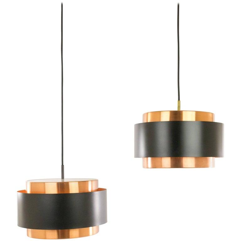 Two Copper 'Saturn' Pendants by Jo Hammerborg for Fog & Mørup, 1960s