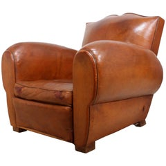 French Leather Club Chair, circa 1930