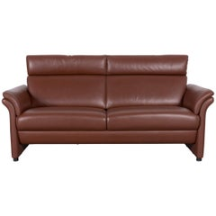 Erpo Designer Leather Sofa Brown Two-Seat Couch