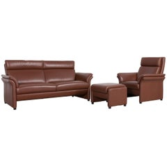 Erpo Designer Leather Sofa Set Brown Two-Seat, Armchair, Foot-Stool
